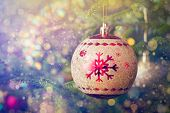 Christmas celebration holiday background - christmas-tree decoration bauble on decorated Christmas t poster