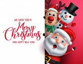 Merry Christmas Greeting Template With Santa Claus, Snowman And Reindeer Vector Characters Singing W poster