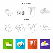 Vector Illustration Of Weather And Weather Sign. Collection Of Weather And Application Stock Symbol  poster