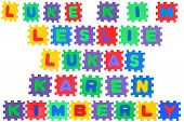 picture of luka  - The names LUKE KIM LESLIE LUKAS KAREN and KIMBERLY made of letter puzzle isolated on white background - JPG