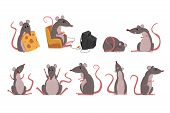 Cute Grey Mouse Set, Funny Rodent Character In Different Situations Vector Illustrations poster