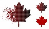 Maple Leaf Icon In Sparkle, Pixelated Halftone And Undamaged Solid Variants. Pixels Are Grouped Into poster