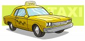 Cartoon Cool Yellow Cool Taxi Car On Green Background. Vector Icon. poster