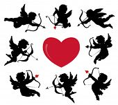 stock photo of cherub  - set of cute cupid silhouettes - JPG
