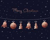 Merry Christmas Happy New Year Holiday Decoration In Copper Color With Ornament Elements. Ideal For  poster