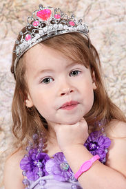 stock photo of toddlers tiaras  - Little girl Dressed at Princess for halloween - JPG