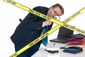 image of crime scene  - CSI investigator researching office crime scene taking fingerprints weapon in foreground white background studio shot - JPG