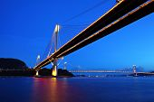 stock photo of tsing ma bridge  - Ting Kau Bridge and Tsing ma Bridge at evening - JPG