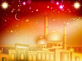 stock photo of ramazan mubarak  - Shiny Eid Mubarak background with moon and golden  Mosque and Masjid - JPG