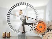 running woman on 3d hamster wheel
