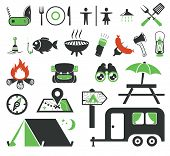 stock photo of trailer park  - Camping icons collection - JPG