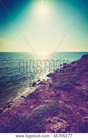 beautiful view of sea cost and rocks poster