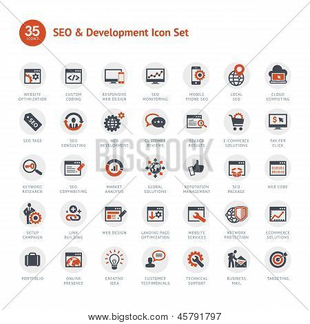 Set of SEO and Development icons poster