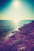 stock photo of horizon  - beautiful view of sea cost and rocks - JPG