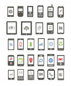 Abstract different mobile gadgets with icons on screen isolated on white background