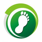 foto of wart  - Podiatrist green vector logo with a stylized foot - JPG