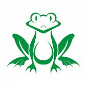 stock photo of tadpole  - Funny green frog stylized on a white background - JPG