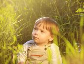 Cute adorable baby kid sitting in beautiful green grass
