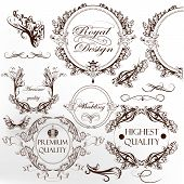 Collection Of Calligraphic Vintage Vector Elements With Wreath