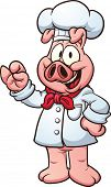 Pig chef. Vector clip art illustration with simple gradients. All in a single layer.