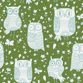 Funny owls in vector. Seamless pattern can be used for wallpapers, pattern fills, web page backgroun