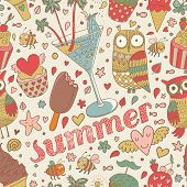 Summer concept seamless pattern with ice cream, owl, cocktail and cupcakes in cartoon style. Seamles