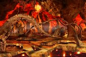 stock photo of satanic  - Fantastic view of hell surrounded by heat