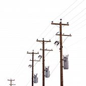 Row of power pole transformers isolated on white