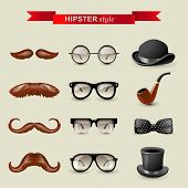 stock photo of bowler  - 12 highly detailed hipster style accessories - JPG