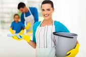 beautiful young woman with cleaning tools in front of family
