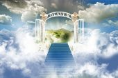 stock photo of heavenly  - The stairway to heaven in cloudy sky - JPG