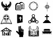 stock photo of noah  - Set of Christian religious icons signs and symbols - JPG