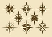 stock photo of wind-rose  - Vector oldstyle wind rose compass set - JPG