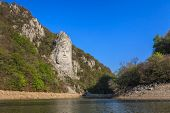 pic of decebal  - Rock sculpture of Dacian king Decebal on Danube river - JPG