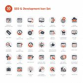 foto of packages  - Set of vector icons for SEO and Development - JPG