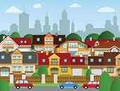 stock photo of suburban city  - Vector illustration of suburban houses  - JPG