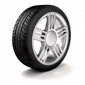 foto of alloy  - 3d tire and alloy wheel - JPG