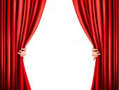 Background with red velvet curtain. Raster version..