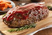 image of ground-beef  - Homemade Ground Beef Meatloaf with Ketchup and Spices - JPG