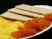 Dried fruits with cheese and diet wholegrain bread