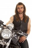 Man Leather Vest Motorcycle Close Serious