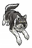 stock photo of werewolf hunter  - Big grey cartoon wolf is running - JPG