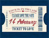 Valentine's Day vintage paper ticket  - vector
