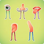 stock photo of senses  - Five human senses in humanized styles - JPG