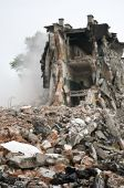 image of terrorist  - Destroyed building can be used as demolition earthquake bomb terrorist attack or natural disaster concept - JPG