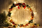 stock photo of tangerine-tree  - Beautiful Christmas wreath - JPG