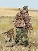stock photo of ringneck  - A Young hunter with a Rooster Pheasant - JPG