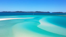 image of inlet  - White sand dunes and perfect turquoise sea contrast in a beautiful landscape image taken from Hill Inlet lookout - JPG