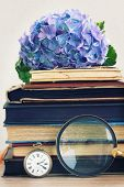 stock photo of vintage antique book  - pile of vintage old books with blue hortenzia flowers - JPG