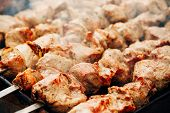 pic of spring lambs  - Grilled marinated caucasus barbecue meat shashlik  - JPG